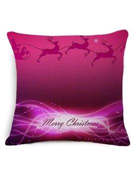 Merry Christmas Reindeer Print Burgundy Throw Pillow