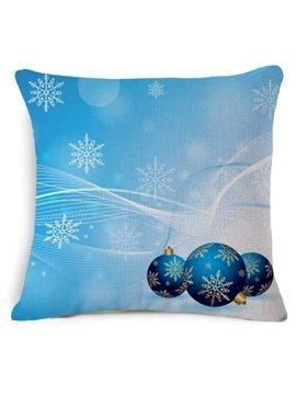 Likable Christmas Decoration Print Blue Throw Pillow