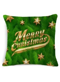 Personalized Typography Merry Christmas Print Green Throw Pillow