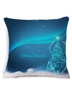 Very Merry Christmas Tree Print Blue Throw Pillow