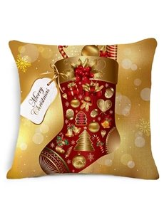 Superb Christmas Winter Stocking Print Square Throw Pillow