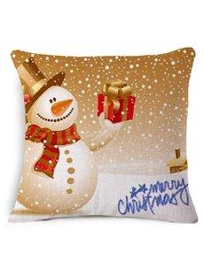 Cute Christmas Snowman Print Square Throw Pillow