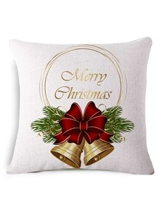 Christmas Chic Jingle Bell Print Basic White Throw Pillow