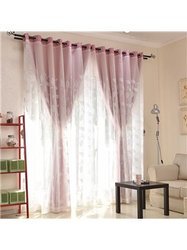 White Leaf Embroidered Sheer and Pink Cloth Sewing Together Window Decoration Custom Curtain