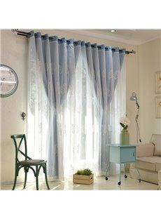 White Tree Embroidered Sheer and Blue Cloth Sewing Together Window Decoration Custom Curtain