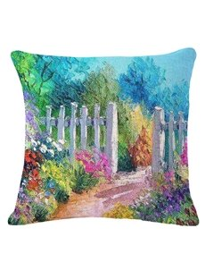 Rural Style Beautiful Path Print Decorative Throw Pillow