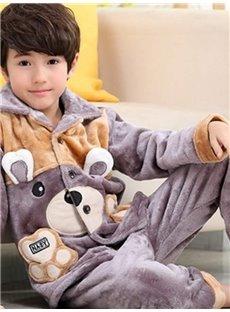 Super Soft Bear Design Pocket Flannel Kids Pajamas