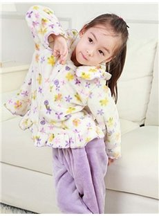 Adorable Floral Pattern Falbala Flannel Kids Pajamas