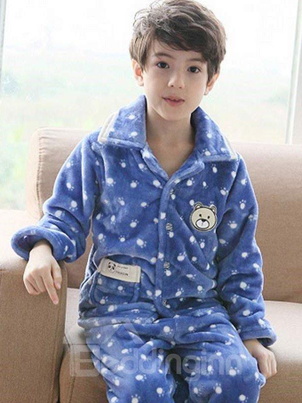 Super Soft Polka Dots Pattern Fluffy Flannel Kids Pajamas