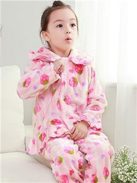 Lovely Strawberry Pattern Pink Flannel Kids Pajamas