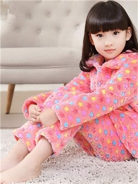 Adorable Colorful Stars Pattern Warm Flannel Kids Pajamas