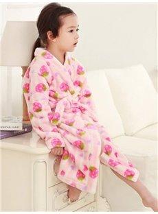 Cute Strawberry Pattern Pink Flannel Kids Robe
