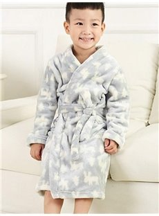 Super Soft Concise Design Gray Flannel Kids Robe
