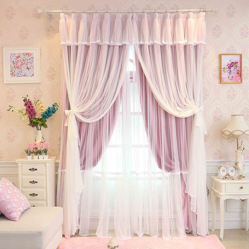 princess style pink sheer and cloth sewing together. Black Bedroom Furniture Sets. Home Design Ideas