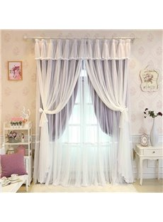 Princess Style Purple Sheer and Cloth Sewing Together Blackout Custom Curtain
