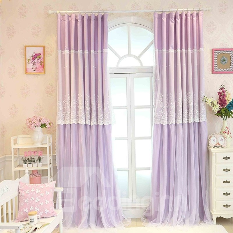 Purple Sheer And Cloth Sewing Together Blackout Custom Curtain With Lace