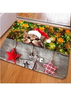 Rectangle Cute Cat Print Christmas Decoration Non Slip Doormat