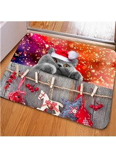 Practical Rectangle Cute Cat Pattern Christmas Decoration Non Slip Doormat