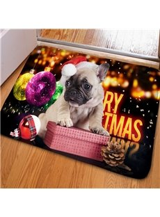 Creative Design Cute SharPei and Jingle Bell Print Christmas Decoration Doormat