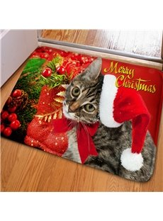 Rectangle Red Cute Cat Pattern Christmas Decoration Non Slip Doormat