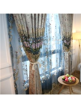 Luxury Burnout Flower Custom Sheer Curtain