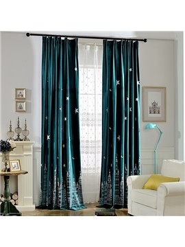 Cute Window Decoration City at Night Embroidery Green Custom Curtain