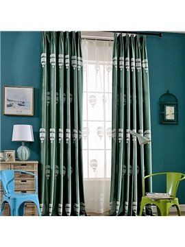 Lovely Window Decoration Balloon Embroidery Green Custom Curtain