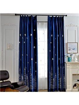Cute Window Decoration City at Night Embroidery Blue Custom Curtain