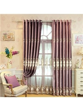 Purple Chenille Damask Pattern Burnout Custom Blackout Curtain