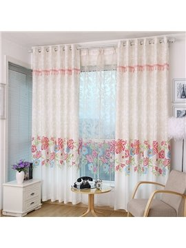 Elegant Red Floral Printing Custom Curtain with Beads on the Top