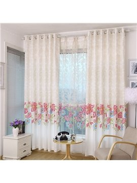Elegant Red Floral on the Bottom Printing Custom Curtain
