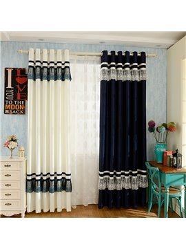Sweet Double Colored with Lace Custom Curtain