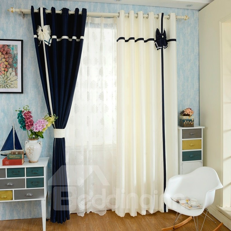 Mediterranean Style Double Colored Custom Curtain With