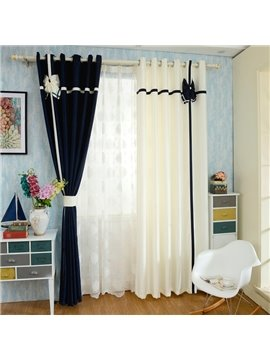 Mediterranean Style Double Colored Custom Curtain with Bowknot