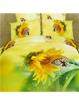 Amazing Sunflower and Butterfly 3D Printed Fitted Sheet