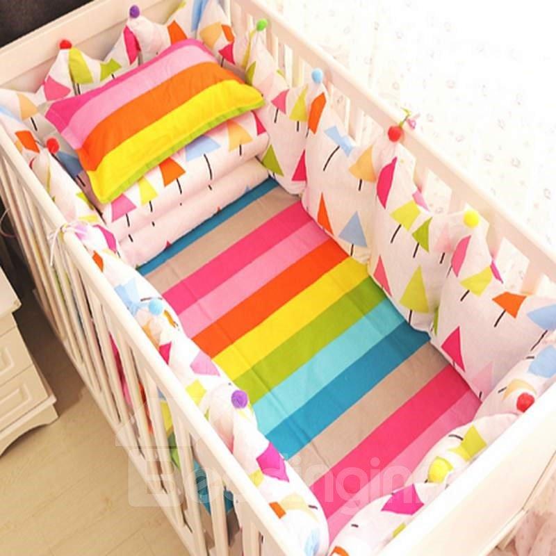 Colorful Nursery: Colorful Rainbow Tree Pattern 9-Piece Cotton Baby Crib