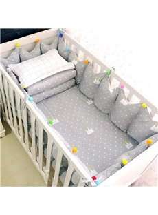 Lovely Cartoon Crowns Pattern 9-Piece Cotton Gray Baby Crib Bedding Set