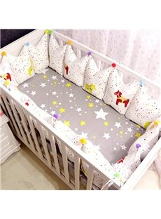 Charming Stars and Horse Pattern 9-Piece Cotton Baby Crib Bedding Set