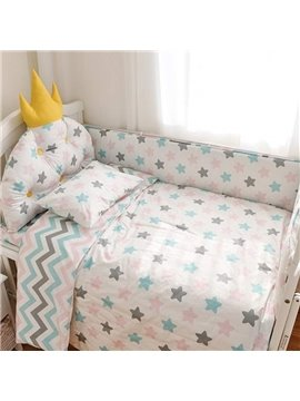 Lovely Princess Theme Multicolot Stars Pattern 9-Piece Cotton Baby Crib Bedding Set