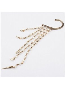 Cool Exaggerated Pearls Chain Tassels Ear Cuff