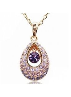 Shining Rhinestone Hollow Water Drop Design Pendant Necklace
