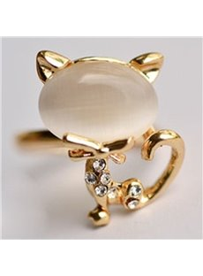 Adorable Dimante Cat Design Alloy Opening Ring
