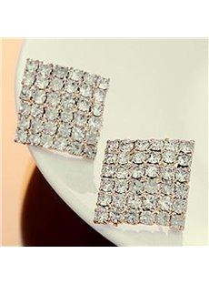 Shining Rhinestone Quadrangle Design Earrings