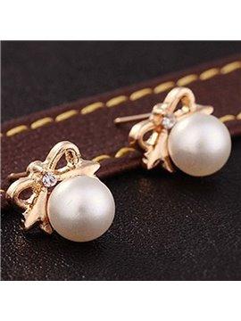 Cute Bowknot Pearl Design Earrings
