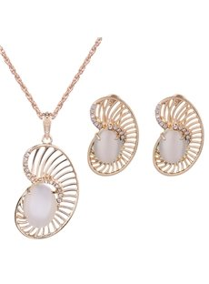 Pretty Diamante Rhinestone Inlaid Design Alloy Jewelry Sets