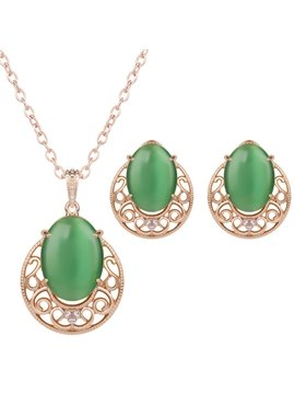 Amazing Green Artificial Stone Inlaid Alloy Jewelry Sets