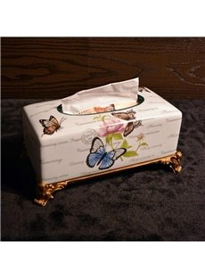 Country Style Colorful Butterfly Printing Ceramics Paper Holder