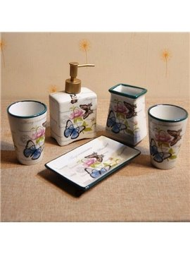 Country Style Colorful Butterfly Printing Ceramics 5-Pieces Bathroom Accessories