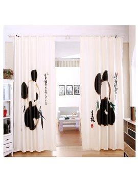 Super Cute Black and White Ink Art Panda Printing Custom Curtain