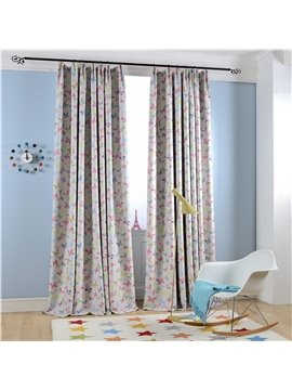 Country Style Pink Butterfly Printing Custom Curtain